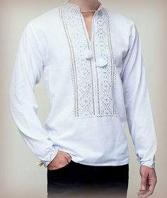 New Ukrainian White Embroidered Men's SHIRT by Rushnychok on Etsy