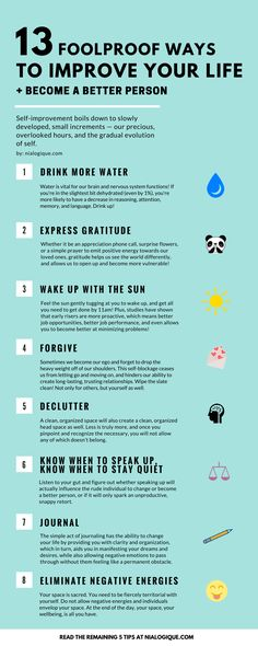 13 Foolproof Ways to Improve Your Life Become a Better Person | Infographic…