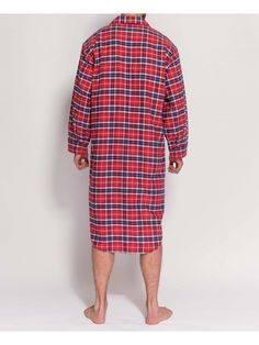 45a0d04b90 Men s Soft Red Tartan Two-Fold Flannel Nightshirt