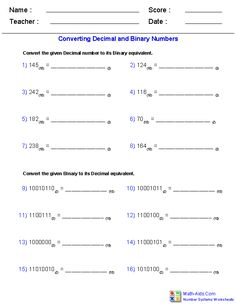 Decimal and Binary Worksheets