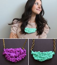 #DIY Create Chic Chunky Necklaces Using Chain and Spandex - Brit  Co. - Style