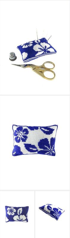 Seamstress gift Hand embroidery #pincushion Craft or sewing room decor Pin & needle holder Decorative small pillow Needlework pin cushion