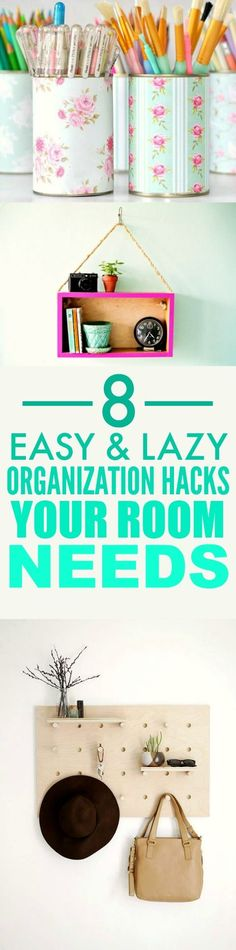 These 8 super cute bedroom organizing hacks and tips are THE BEST! I'm so happy I found this AMAZING post! Now I have some ideas on how to organize my room an make it look pretty! Definitely pinning for later!