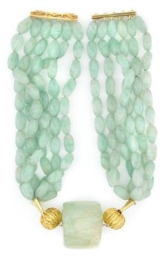 Tony Duquette (American, 1914-1999), 1990s. An aventurine, aquamarine and vermeil necklace