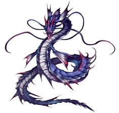 View an image titled 'Leviathan Summon Art' in our Final Fantasy: Brave Exvius art gallery featuring official character designs, concept art, and promo pictures. Magical Creatures, Fantasy Creatures, Final Fantasy, Fantasy Art, Dragons, Pet Monsters, Dark Artwork, Dragon Artwork, Pokemon
