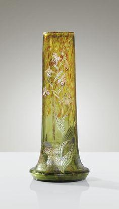 Emile Gallé Vase aux Orchidées 1890-1894 Enamelled applied, intaglio etched.   Sotheby's