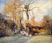 The Goose Girl at Montfoucault, White Frost  by Camille Pissarro