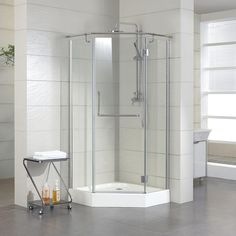 """36"""" x 36"""" Alver Neo Angle Shower Enclosure with Tray - Right Hand Door - Polished Aluminum"""