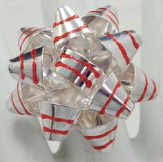 Silver Gift Bow Ring/Red/Holiday/Christmas Jewelry/Statement