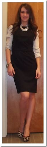 work outfit idea with a shift that you can layer and statement necklace