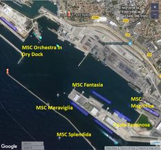 Something you wont often see - 5 MSC Cruises' ships simultaneously in Marseille in dry dock) Msc Cruises, Orchestra, 2 In, South Africa, Transportation, Ships, Dative Case, Marseille, Boats
