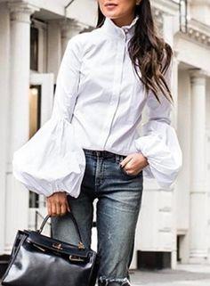 Blouse Elegant Women Fashion Spring Casual White Black Lantern Long Sleeve Office Button Fashion Tops Shirt 2020 Plus Size Spring Fashion Casual, Look Fashion, Autumn Fashion, Shirt Sleeves, Bell Sleeves, White Turtleneck, Cotton Blouses, High Collar, Types Of Sleeves