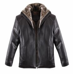 Sale 11% (65.66$) - Mens Thick Black PU Leather Jacket Turn-down Collar Casual Warm Solid Collar Coat Plus Size