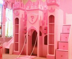 Bedroom , The Princess Castle Bedroom : Pink The Princess Castle Bunk Bed With Bookshelves And Stairs With Storage And Slide