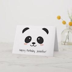 Shop Cute panda face kawaii birthday card created by kikiway. Creative Birthday Cards, Birthday Cards For Friends, Happy Birthday Cards, Card Birthday, Panda Birthday Party, Panda Party, Happy Birthday Jennifer, Panda Craft, Images Kawaii