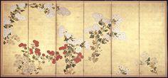 Chrysanthemums. Style of Tawaraya Sôtatsu (Japanese, died about 1642). Japanese folding screen. 17th–18th century. MFA Boston.