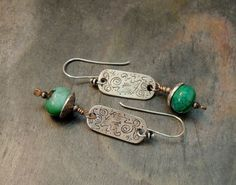 Artisan Jewelry, Green Chrysocolla, Petroglyph Silver Links, Handmade Silver Beadcaps, Rustic Handcrafted, Sundance Style