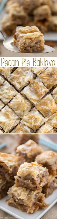 Pecan Pie Baklava has layers of flaky phyllo with pecans, butter, and a pecan pie flavored syrup!