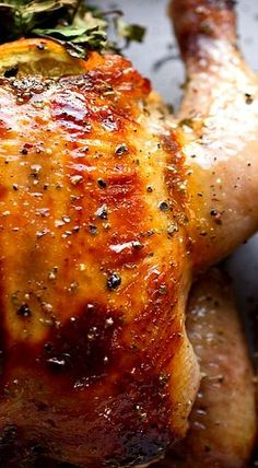 Juicy and succulent, this Cornish hen recipe combines fragrant herbs and citrus, and is made glossy and slightly sweet from the orange marmalade glaze. Roasted Cornish Hen, Cornish Game Hen, Cornish Hens, Herb Bouquet, The Fresh, Carne, Cooking Recipes, Crockpot Recipes, Recipes