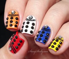 Doctor Who Nails - multi colored Daleks - re-creation of Adventures In Acetone's Digit-al Dozen skittle manicure by Sassy Shelly