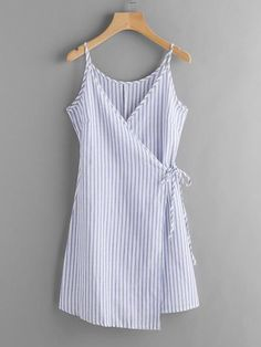 Blue Vertical Stripe Wrap Self Tie Cami Dress