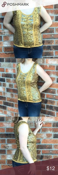 """Nicole Miller Women's sequin tank top small gold Nicole Miller Women's sequin tank top small gold 18"""" arm pit to arm pit. 23"""" length. No tears no stains no pilling Nicole Miller Tops Tank Tops"""