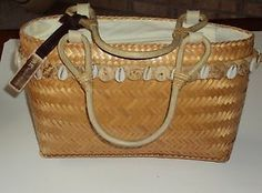 Anne Klein Woven Cane Tan Purse Seashells Double Strap Handbag Accents Vtg AK