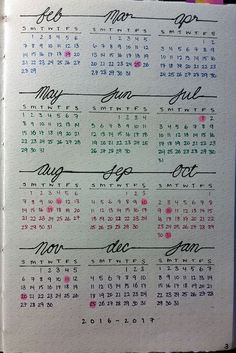 10 Yearly spreads and future logs for your bullet journal! 10 Yearly spreads and future logs for your bullet journal! Bullet Journal Banners, Bullet Journal Yearly Spread, Bullet Journal Hacks, My Journal, Art Journal Pages, Journal Ideas, Bullet Journal 2018 Calendar, Bullet Journal Numbers, Bullet Journal Future Log Layout