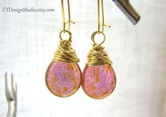 Luster Rose Gold Teardrop Czech Glass Earrings by CYDesignStudio