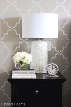 Another example of large scale on the wall.monochromatic gray master bedroom makeover reveal via Refined Rooms - Moorish Trellis Wall Stencils by Royal Design Studio Easy Home Decor, Home Decor Bedroom, Bedside Table Decor, Bedside Table Styling, Table Lamp, Moroccan Wall Stencils, Bedroom Night Stands, Night Stand Decor, Home Decor