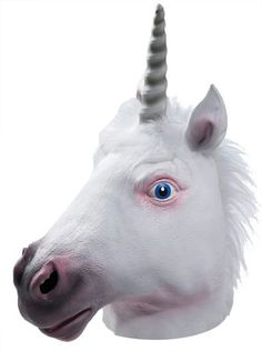 Full over-the-head latex mask of unicorn with pink shading and blue eyes. One size fits most adults.