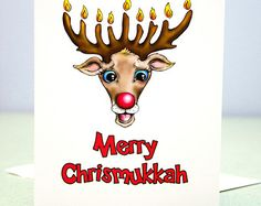 Funny Chrismukkah CARDS for Hanukkah and Christmas - Pack of 4 Greeting Cards w/envelopes