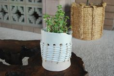 clay and leather planter by twpottery on Etsy