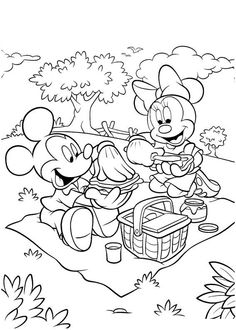 Mickey and Minnie having a picnic