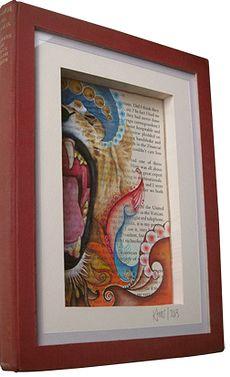 'Lion Literature' framed Book Art by katiemo