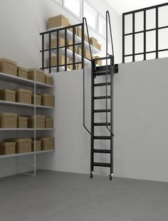 Fantozzi Gallery Stairway (Black Metal-work) - Stored position against the wall - Also available in a White or Grey Metal-work colour # From £800.00 + VAT