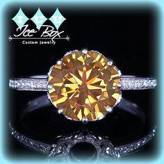 Whiskey Moissanite Engagement Ring 10.5mm 4.2ct Round in a 14K White Gold Diamond Filigree Setting