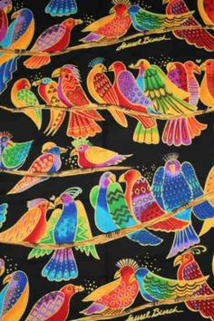 You are looking at 1 & yard of Laurel Burch fabric from the Jungle Songs collection. Laurel Burch, Zen Art, Tropical Art, Glass Birds, Silk Painting, Art Plastique, Bird Art, Printable Art, Printables