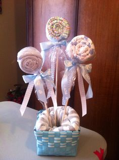 Burp cloths as lollipops for baby Greyson
