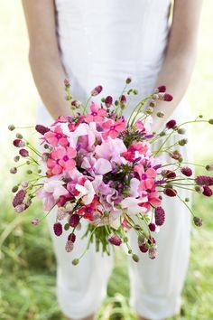 Romantic Pink & Gold Bride Marries Bride Wedding Ideas Sweet Pea Bouquet http://cecelinaphotography.com/