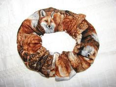 Foxes on hill Fabric Hair Scrunchies fall foxes by coloradocntry