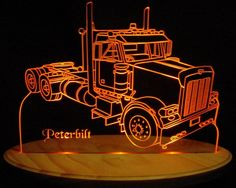 "Semi Truck Pblt Acrylic Lighted Edge Lit LED Truck Sign 13"" VVD15 Full Size USA Original"