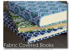 """Mod Podge Fabric Covered Books! no more hunting for """"pretty"""" books to decorate shelves with. I can use the books I already have and actually want in the space and make them look how I want... Ugly, old, Inherited cookbooks, begone!!! Hello there, pretty, color- coordinated kitchen vignette!"""