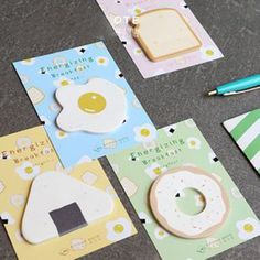 Genki Breakfast Sticky Notes Stationery Kawaii Cute Food Memo Planner Notepad #Unbranded