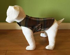 Fleece Dog Coat, Extra Small Jacket, Brown, Green, Blue, Pink, and White Flannel Plaid with Charcoal Gray Fleece Lining www.TheThimbleAndHound.com