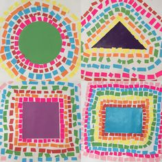 2D Concentric Shape Mosaics. Primary art - year 1 and 2 - maths and art.