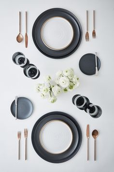 Minimale, Charcoal | Element, White | Anders Flatware, Brushed Copper | Edge Glassware, Graphite Black And Copper Kitchen, Place Settings, Table Settings, Pottery Place, Design Reference, New Kitchen, Dinnerware, Sweet Home, New Homes