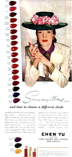 Ladies, looking for a new shade of nail polish?  How about Dragon's Blood?  (Chen Yu Nail Polish Ad, 1945 Ladies Home Journal).