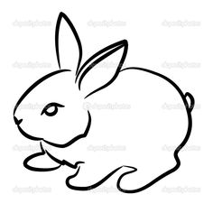 easy+detsiled+rsbbut+drawing | Rabbit, beautiful, cute, contour, silhouette, black, white, background ...