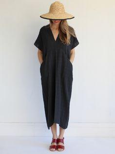Creatures of Comfort Uma Dress- Gauze Grid Black